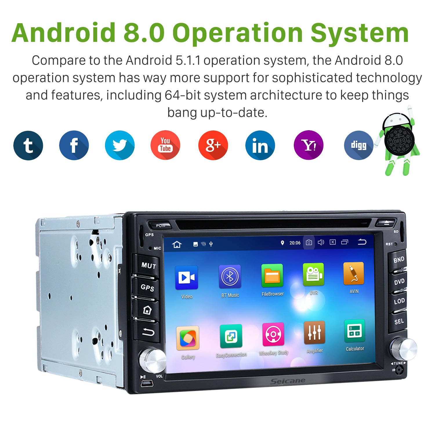Android 8 0 Car Stereo Bluetooth Dvd Player Gps Navigation System