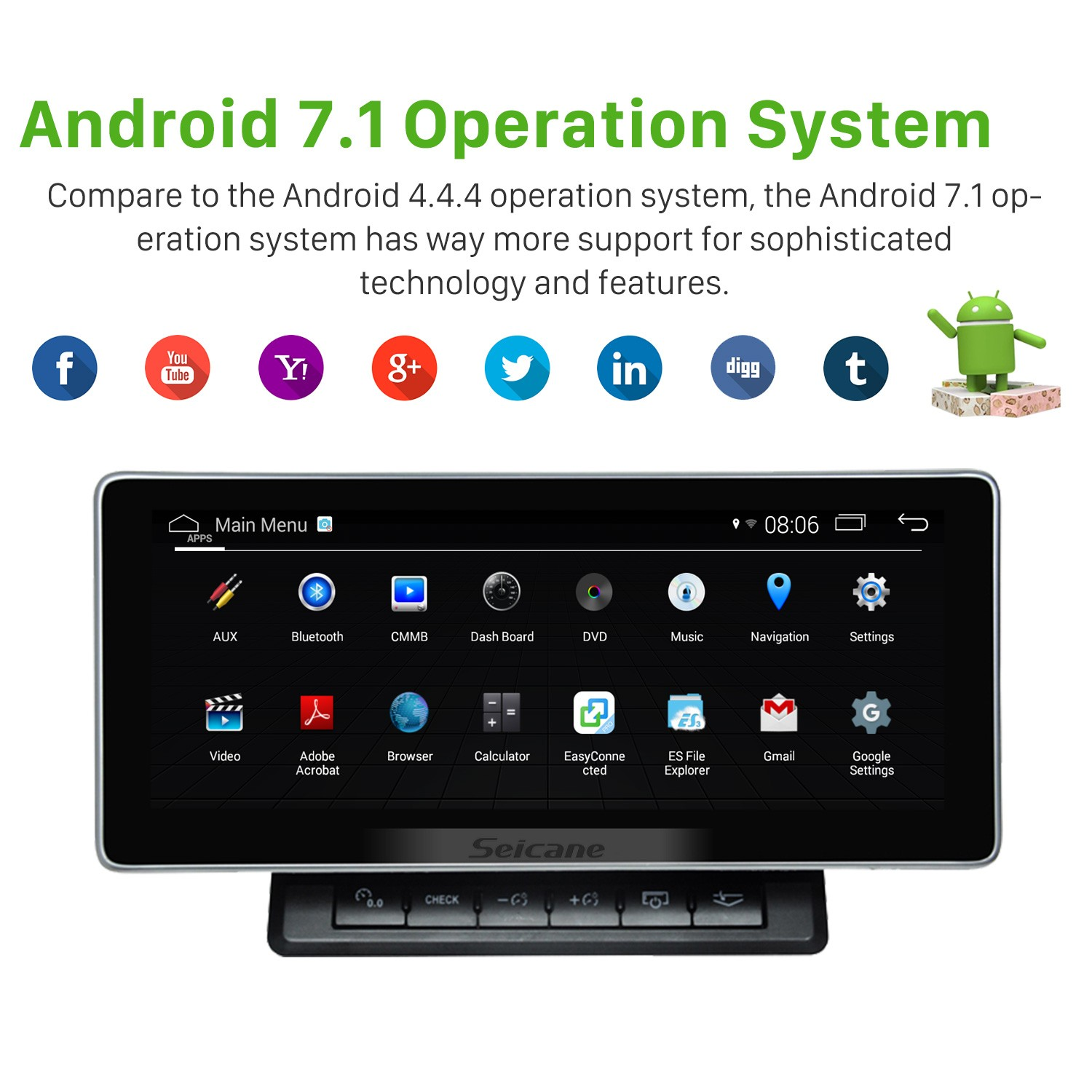 10 25 Inch 2006-2015 AUDI Q7 Android 7 1 Car Head Unit GPS