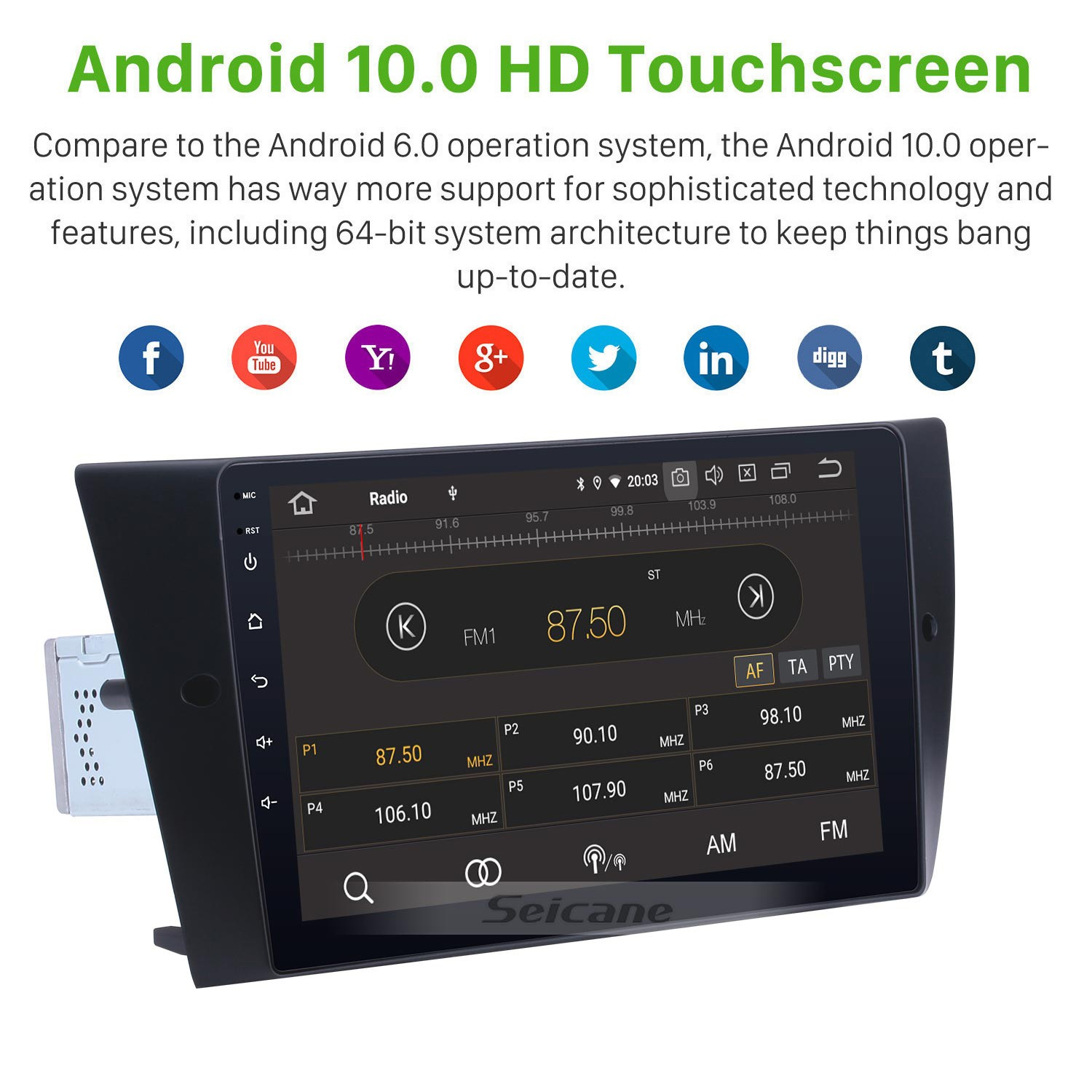 9 Inch Android 10.0 GPS Navigation System Radio For 2005