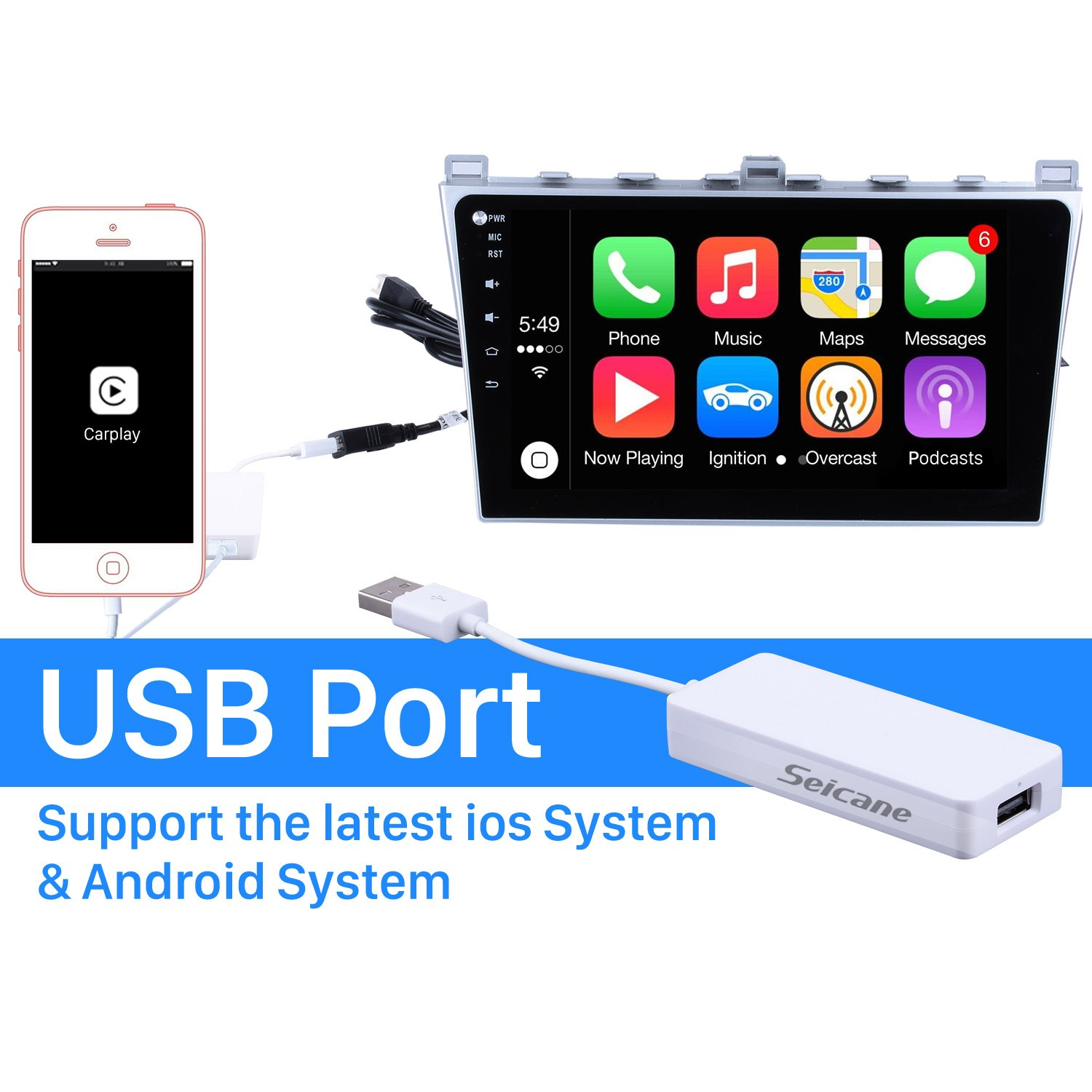 Plug And Play Apple Carplay Usb Dongle For Android Car Radio Support