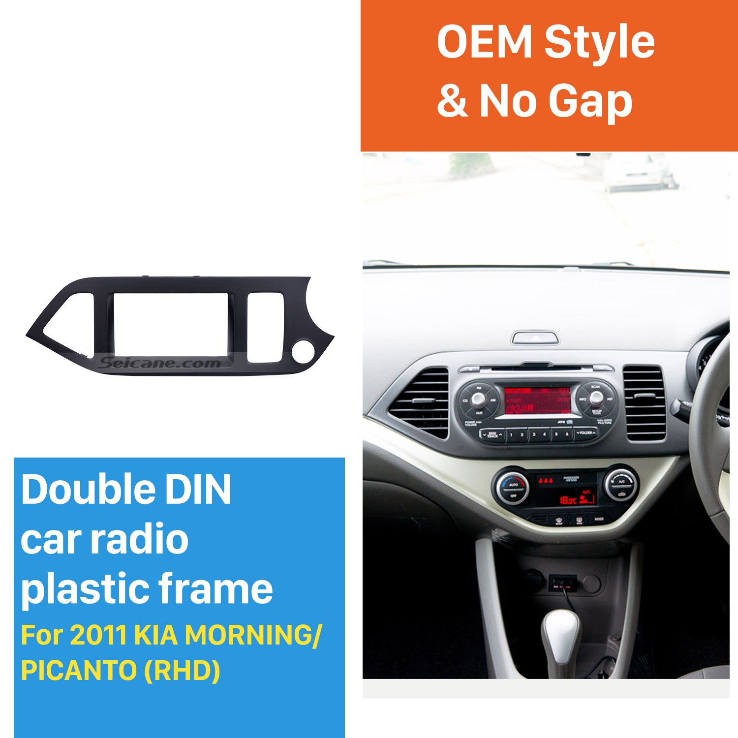 Black Double Din 2011 Kia Morning Picanto Right Hand Drive Car Radio Fascia Dash Cd Panel Kit
