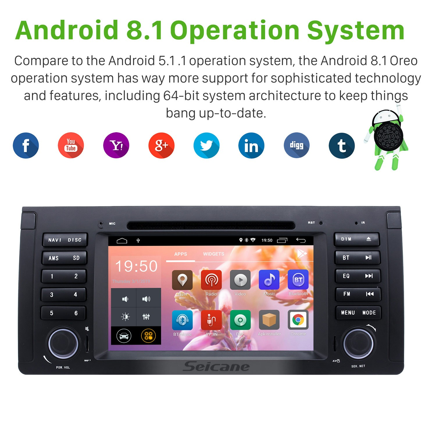 7 inch Android 8 1 Muti-touch Screen autoradio DVD Player for 2000