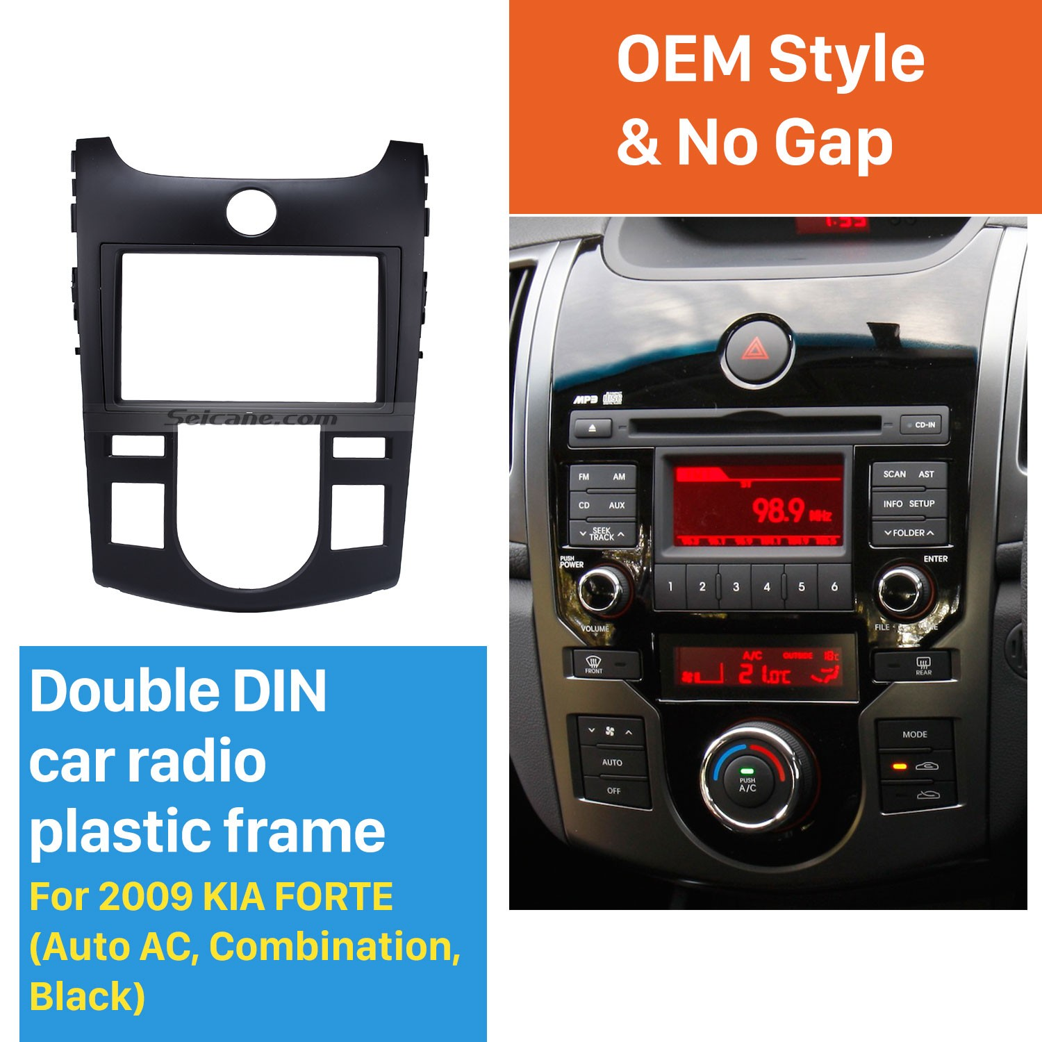 Black Combination 2din 2009 Kia Forte Auto Ac Car Radio Fascia Audio Frame Cd Trim Stereo Install