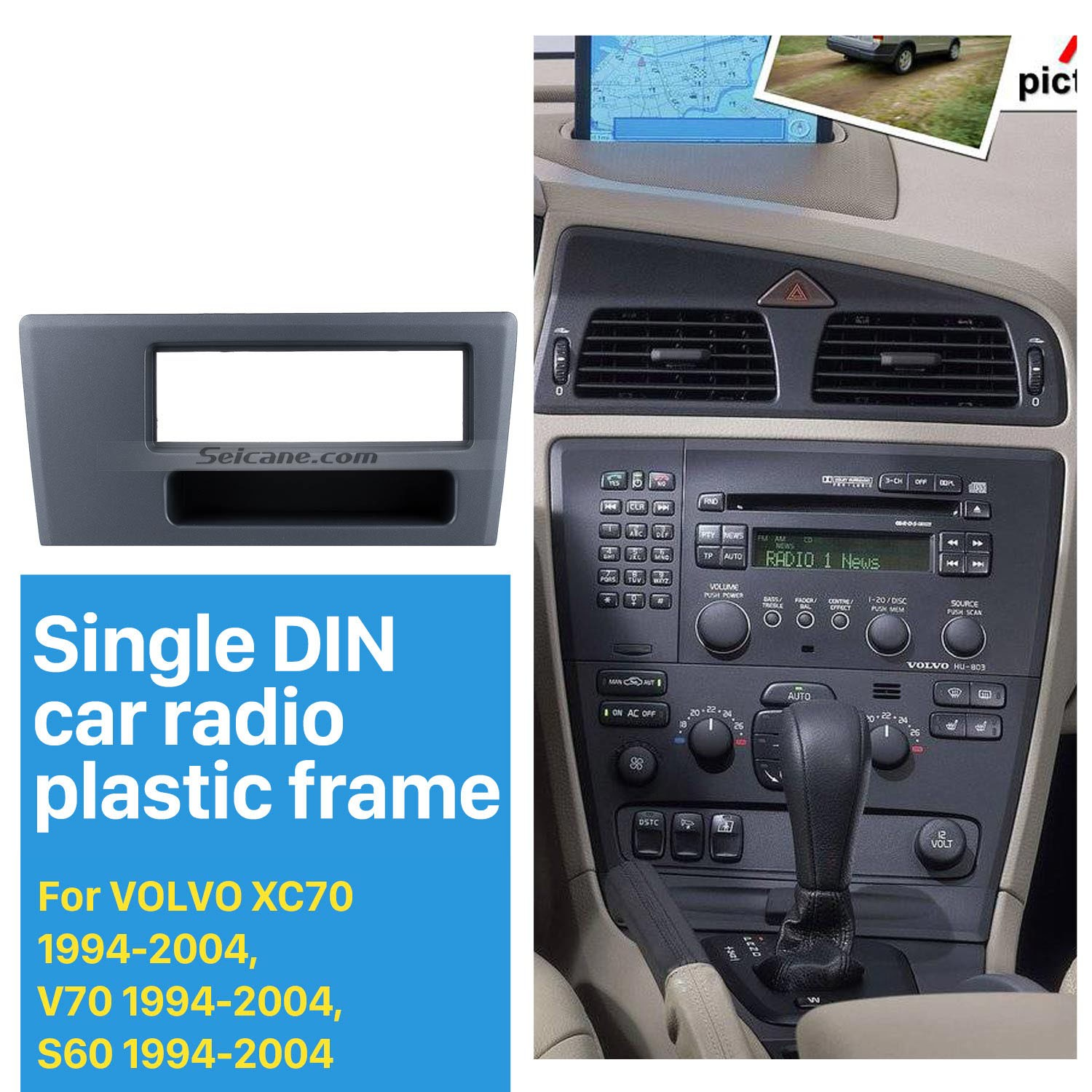 2011ab7dce26 Top Quality 1Din Car Radio Fascia for 1994-2000 2002 2003 2004 Volvo XC70  V70 S60 DVD GPS Decorative ...