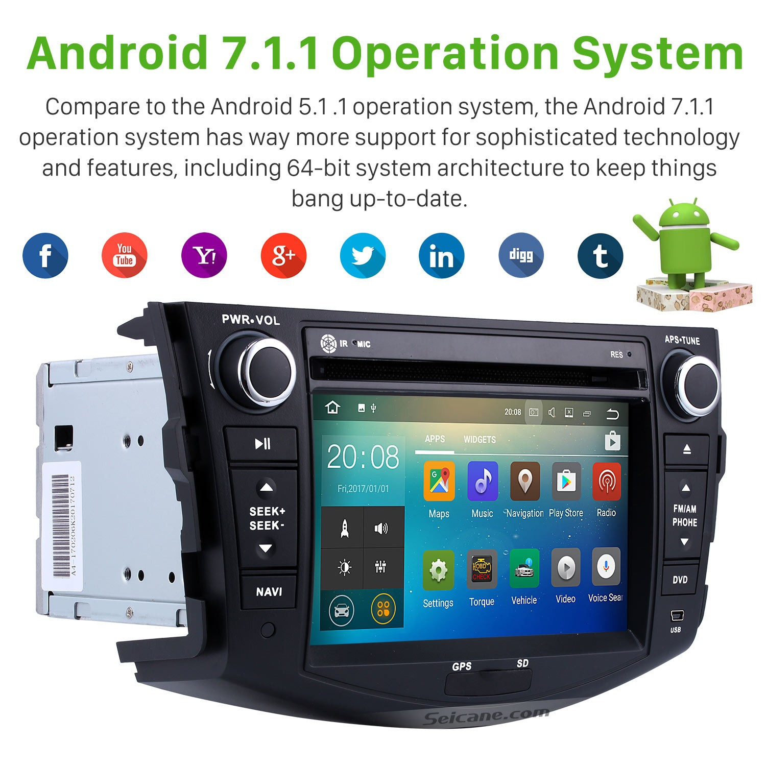 Android 7 1 GPS Navigation System DVD Player for2006-2012 TOYOTA