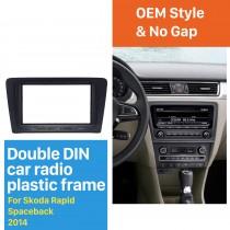 Black 2Din Car Radio Fascia for 2014 Skoda Rapid Spaceback DVD Frame Fitting Adaptor Dash Mount CD Trim