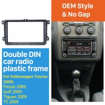 Black 2Din 2009 Volkswagen Touran Passat Golf Tiguan T5 Car Radio Fascia Dash Mount DVD Frame Audio Cover Face Plate