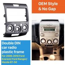 2 Din Frame Car Stereo Radio Fascia Panel for 2006-2010 Ford Everest Ford Ranger Mazda BT-50 Install Dash Bezel Trim Kit OEM style No Gap