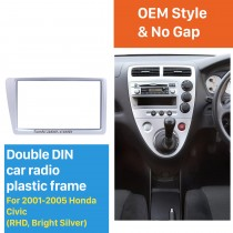 Bright Grey Double 2Din 2001-2005 Honda Civic RHD Car Radio Fascia Panel Frame Stereo Interface DVD Player