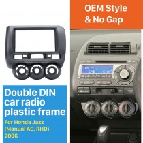 Best Quality Double Din 2006 Honda Jazz Manual AC RHD Car Radio Fascia Auto Stereo Installation frame DVD panel CD Trim