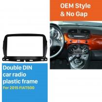 2 DIN Car Radio Fascia Stereo Frame Install Dash Bezel Trim Kit Cover Trim For 2015 FIAT 500 (UV BLACK) OEM style No gap