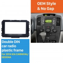 Black Double Din Car Radio Fascia for 2014 KIA CARNIVAL SEDONA Trim Installation Kit DVD Frame Panel Plate