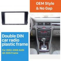 Black Double Din 2002-2006 Audi A6 Car Radio Fascia Panel Adaptor DVD Frame Dash Installation Kit