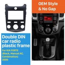 Black Combination Double Din 2009 KIA FORTE Manual AC Car Radio Fascia Dash CD Panel Frame Trim Bezel