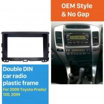 Black Double Din 2009 Toyota Prado 120 Car Radio Fascia CD Trim Dashboard Panel Stereo Player Frame