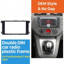 Black Double Din Car Radio Fascia for 2007 Ford Mondeo C Max Audio Frame DVD Panel CD Trim Face Plate