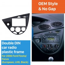 Black 2 Din Car Radio Fascia for 2006 Ford Fiesta Focus European LHD DVD Panel Audio Player Auto Stereo Installation Frame