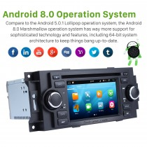 Aftermarket Android 8.0 DVD Player GPS Navigation system for 2002-2007 Dodge Durango Dakota P/U with OBD2 Bluetooth Radio Mirror link Touch Screen DVR Backup camera TV USB SD 1080P Video WIFI Steering Wheel control
