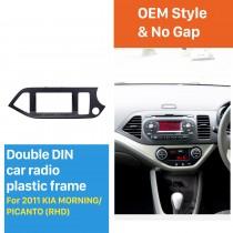 Black Double Din 2011 KIA MORNING PICANTO Right Hand Drive Car Radio Fascia Dash CD Panel kit Auto Stereo Installation Frame