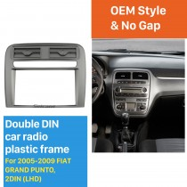 2 DIN Car Radio Fascia Stereo Frame Install Dash Bezel Trim Kit Cover Trim For 2005-2009 FIAT GRAND PUNTO (LHD) OEM style No gap