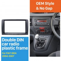 Black Double Din Car Radio Fascia for 2004-2007 FIAT IDEA Dash Mount Kit Adapter CD Trim Car refitting DVD frame