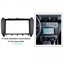 Black 2Din 2005-2009 Mercedes BENZ C CLASS W203 GLK-Class C209 Car Radio Fascia Stereo Install Panel Kit Audio Fitting Frame
