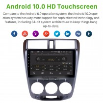 10.1 inch Android 10.0 car radio DVD Player GPS navigation System for 2008-2013 HONDA CITY with Touch Screen Bluetooth Music Mirror Link OBD2 4G WiFi AUX Steering Wheel Control Backup Camera
