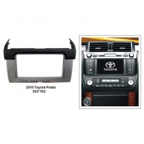 Black Silver 2 Din 2014 Toyota Prado Car Radio Fascia Stereo Player Dash Mount Kit DVD Frame