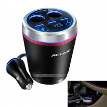 Cup Holder Cylindrical Bluetooth Car Charger with Dual Cigarette Lighter Interface 3 USB Ports Hub Charger Adapter Multimedia Player