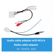 Car Radio Cable Adaptor and Video Audio Cable Adaptor with RCA for 2012 TOYOTA