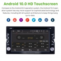 6.2 inch GPS Navigation Universal Radio Android 10.0 Bluetooth WIFI USB HD Touchscreen AUX Carplay Music support Digital TV 1080P Video