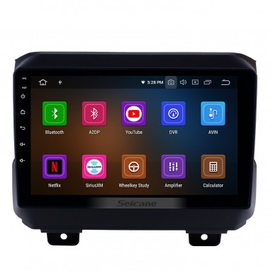 All in one Android 9.0 GPS Navigation 9 inch HD Touchscreen Stereo for 2018 Jeep Wrangler Rubicon Bluetooth FM WIFI USB Steering Wheel Control USB Carplay AUX support DVR OBD2