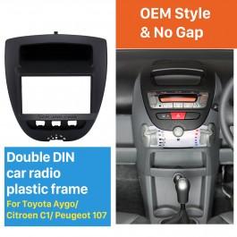Grand 2Din Toyota Aygo Citroen C1 Peugeot 107 Autoradio Fascia DVD Panneau Stéréo Dash CD Garniture Cadre D'installation