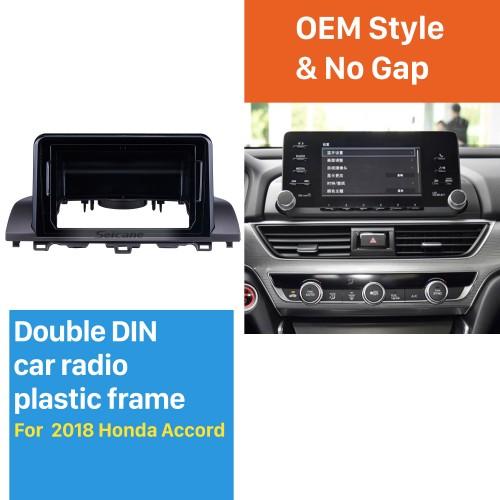 Double Din pour 9 pouces 2018 Honda Accord Fascia Black Frame Dash Mount Kit Trim Trim Panel