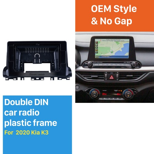 Fascia UV Black Frame for 10.1 inch 2020 Kia K3 Dash Mount Kit Trim Trim Panel No gap