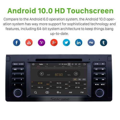 7 pouces Android 10.0 Radio pour 1996-2003 BMW X5 E53 Bluetooth Wifi HD Écran tactile Navigation GPS Carplay USB support TPMS Mirror Link