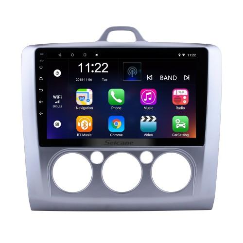 Android 10.0 2004-2011 Ford Focus Exi MT 2 3 Mk2 / Mk3 Manuel AC 9 pouces Radio à écran tactile GPS Navi avec USB WIFI Bluetooth Musique Système audio 1080P Lien miroir vidéo DVR OBD2