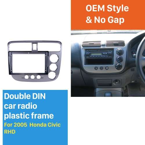 Cadre argenté UV pour kit de panneau de bordure de tableau de bord audio Honda Civic RHD 9 pouces 2005