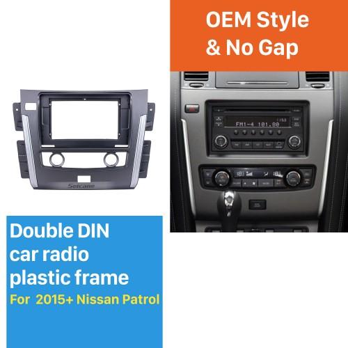 Kit d'installation de cadre de garniture de panneau de tableau de bord argenté dans le tableau de bord pour le style OEM de Nissan Patrol de 10,1 pouces 2015-2020