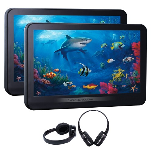 2×10.1 inch Intelligent Android 5.1.1 Quad-code Free Tilt  headrest  MP5 DVD Player with digital HD 1024 * 600 TFT LED Touch Screen Bluetooth WIFI FM Transmitter IR Transmitter USB SD