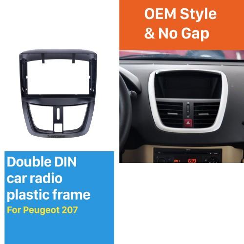 Cadre noir pour kit de panneau de bordure de tableau de bord audio Peugeot 207 9 pouces
