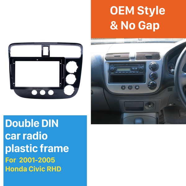 Double Din pour 9 pouces 2001-2005 Honda Civic RHD Black Frame Dash Mount Kit Trim Trim Panel
