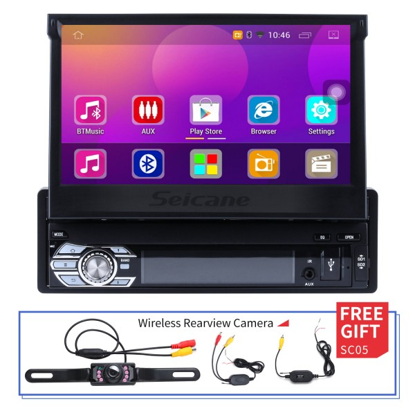 Android 6.0 Univeral Un DIN Radio Autoradio GPS Navigation Multimedia Player avec Bluetooth WIFI Support Musique Mirror Link SWC DVR 1080 P Vidéo