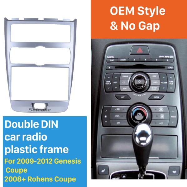 Argent 2Din 2009-2012 Genesis Coupé 2008 + Rohens Coupe Auto AC LHD Voiture Radio Fascia DVD Cadre Dash Installation Kit Audio Couverture