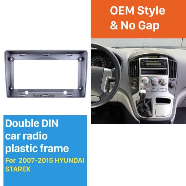 Double Din pour 9 pouces 2007-2015 Hyundai Starex Fascia Silver Frame Dash Mount Kit Trim Trim Panel