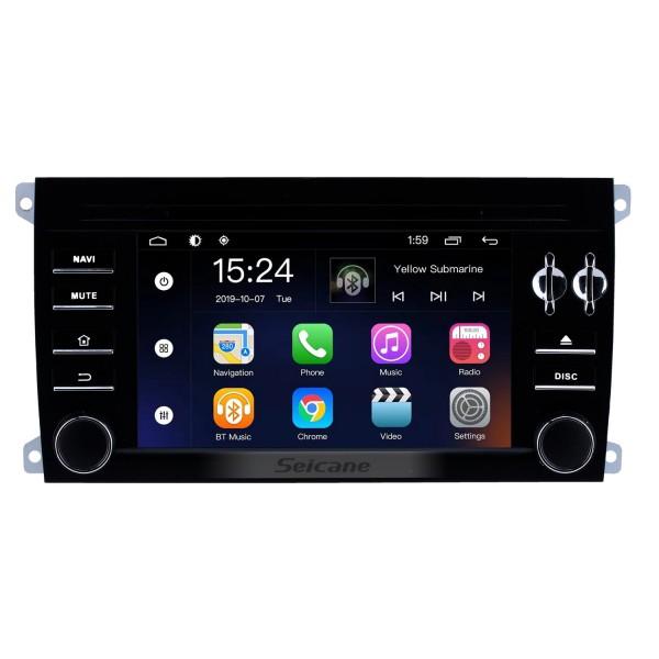 2003 2004 2005 2006-2011 Porsche Cayenne 7 pouces Android 9.0 autoradio Lecteur de DVD Bluetooth Assistance GPS Sat Nav Audio Automatique A / V 1080 P Vidéo Mirror Link DVR Commande au volant Stéréo Upgrade