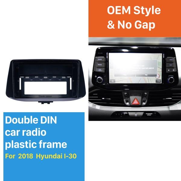 Cadre noir pour kit de panneau de garniture de tableau de bord audio Hyundai I-30 2018 de 9 pouces