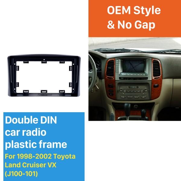 Cadre noir 9 pouces pour Toyota Land Cruiser VX 1998-2002 Kit de panneau de garniture de tableau de bord Audio
