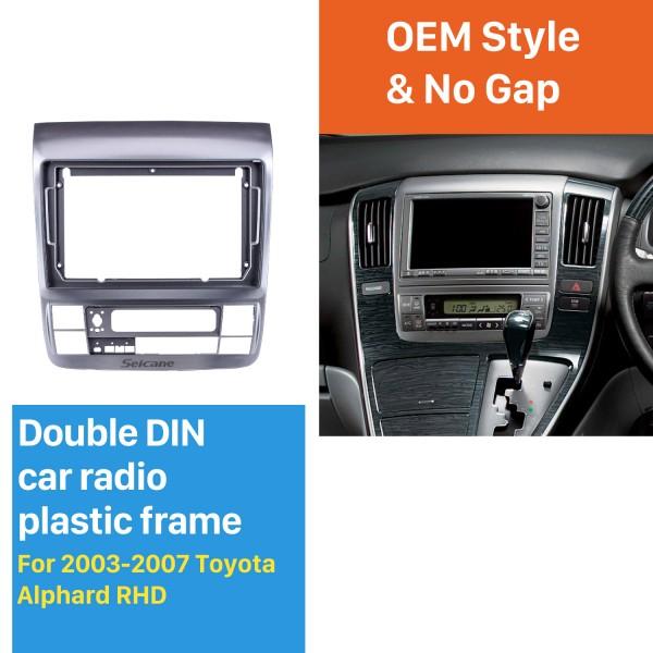 Dans le cadre argenté de tableau de bord 9 pouces pour 2003-2007 Toyota Alphard RHD Fascia panneau de lunette kit de garniture garniture de couverture Style OEM