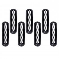Accessoires de voiture Ensemble de grille avant en plastique ABS noir pour 2007-2016 Jeep Wrangler Mesh Cover 7pcs